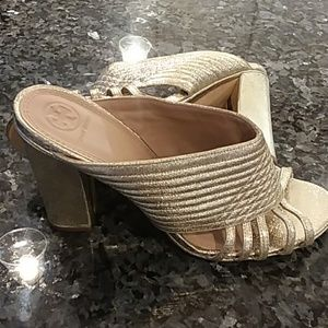 Gold Tory Burch wedges/pumps